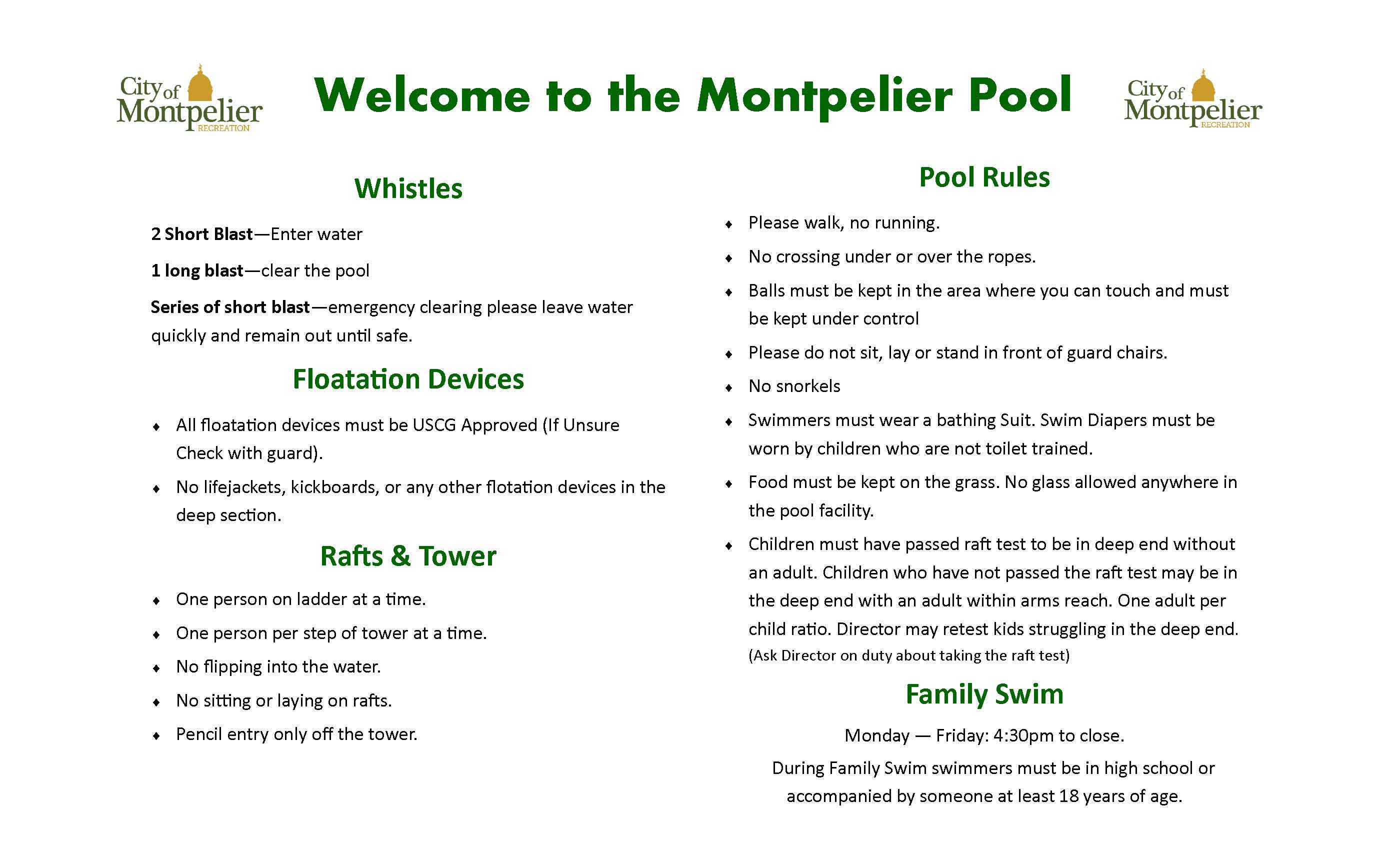 New Pool Sign