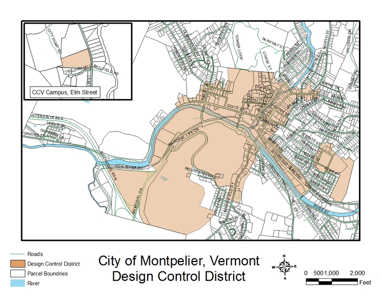 City of Montpelier design control district map