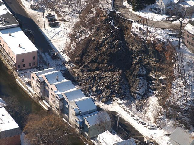 An aerial view of the Cliff Street rockslide