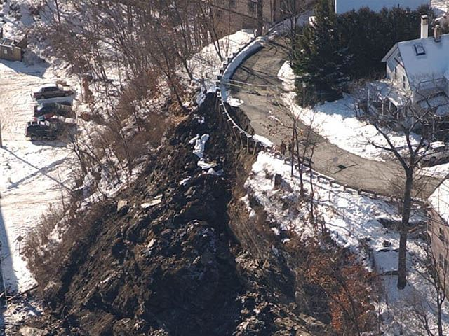 An aerial view of the Cliff and Elm Street rockslide